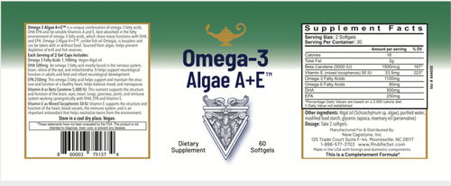 Omega-3 Algae A + E - Vegan Omega-3 fatty Acids from Algae with Vitamin A + E